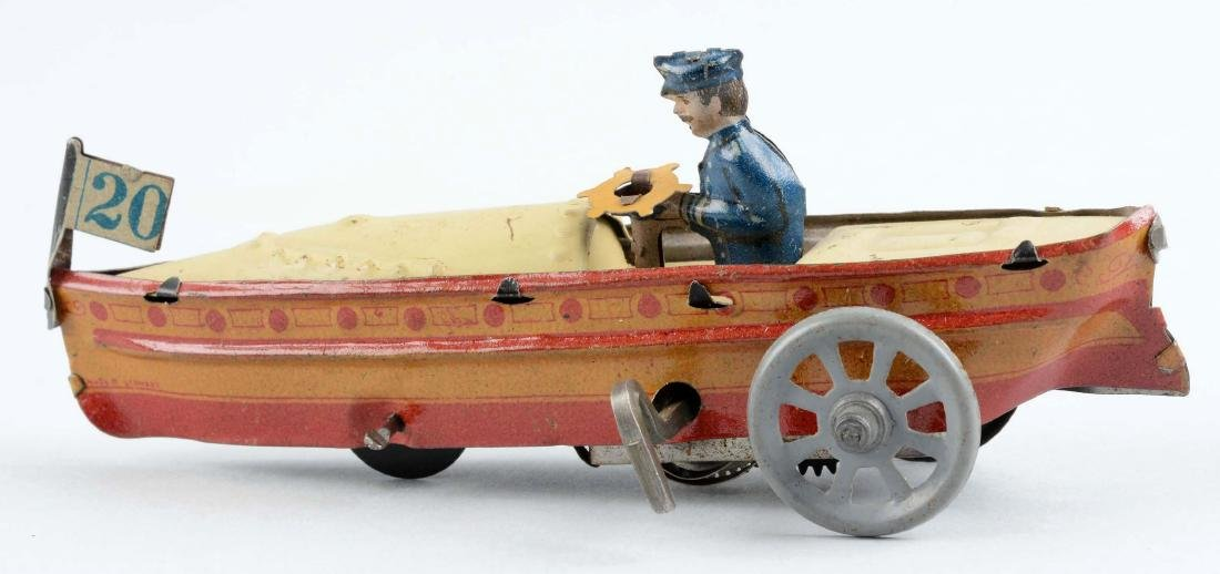 German Tin Litho Wind Up Penny Toy Speed Boat. - 2