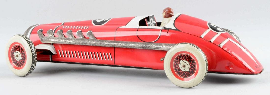 French Tin Litho Wind-Up No. 5 Race Car. - 2