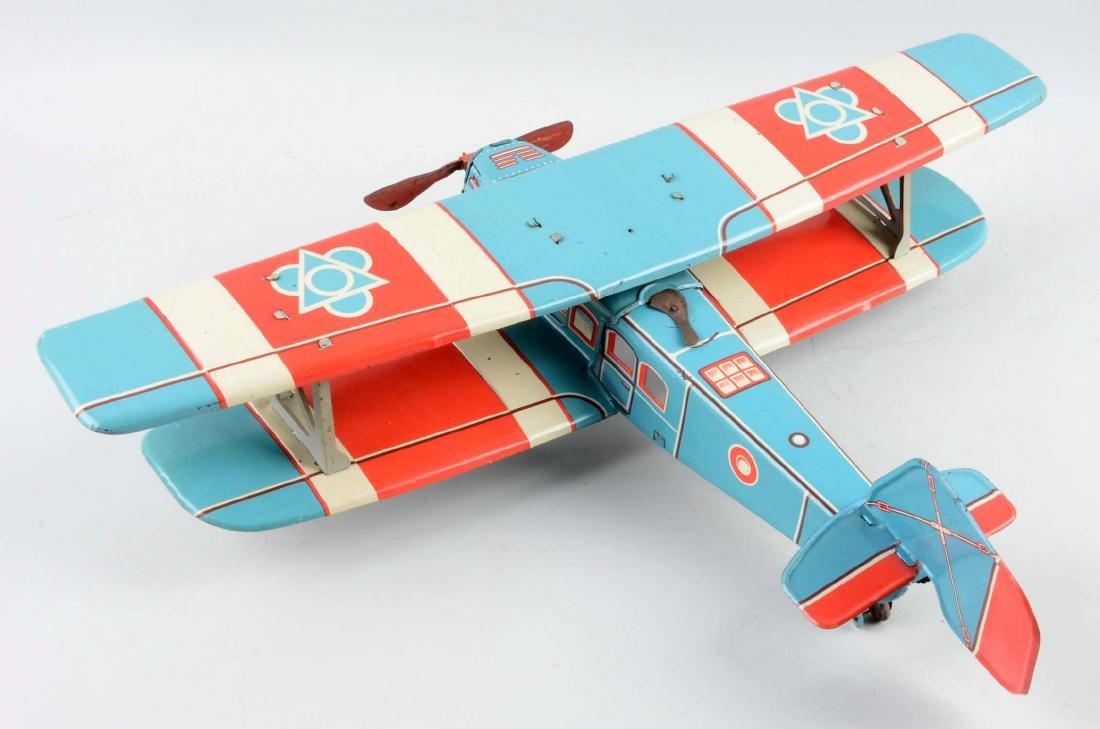 European Made Tin Litho Wind-Up Bi-Wing Airplane Toy. - 2