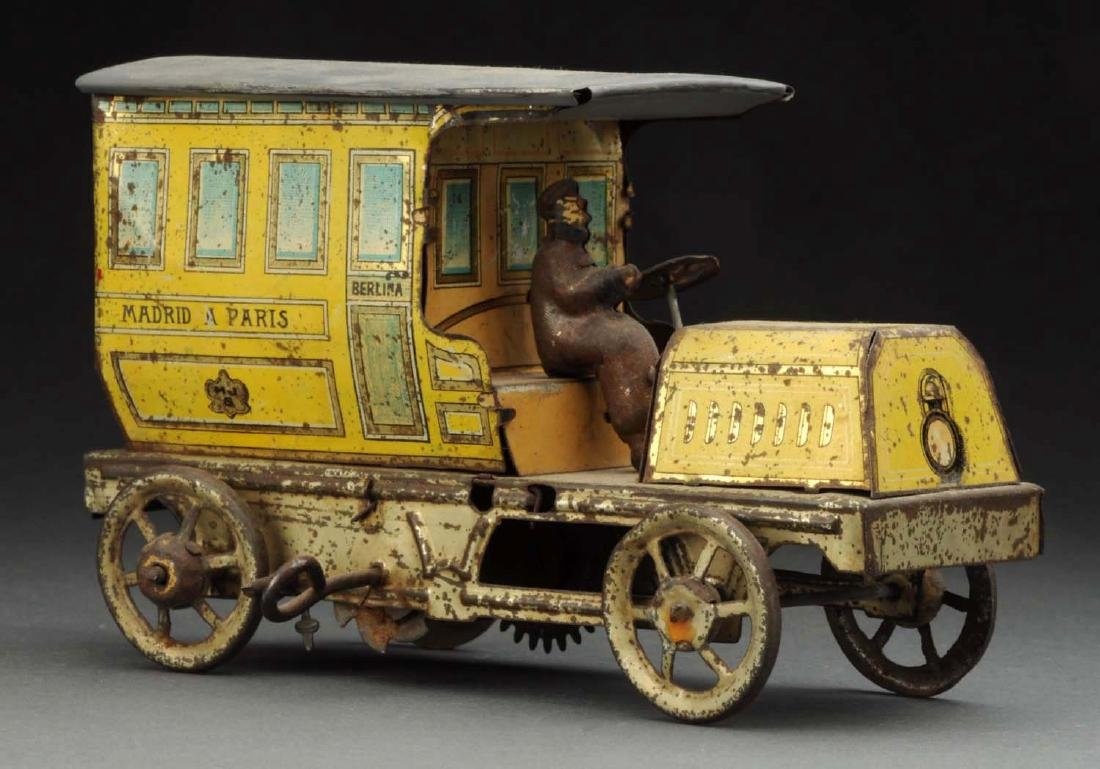 Spanish Tin Litho Wind-Up Madrid A Paris Limo Toy.