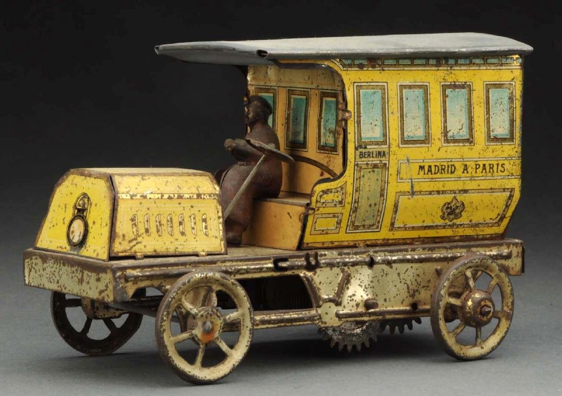 Spanish Tin Litho Wind-Up Madrid A Paris Limo Toy. - 2