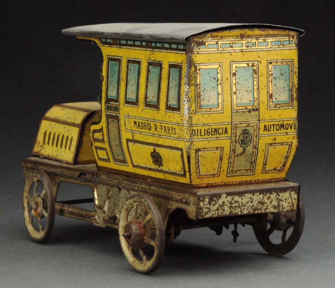 Spanish Tin Litho Wind-Up Madrid A Paris Limo Toy. - 3