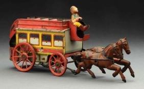 German Tin Litho Wind-Up Horse Drawn Omnibus.
