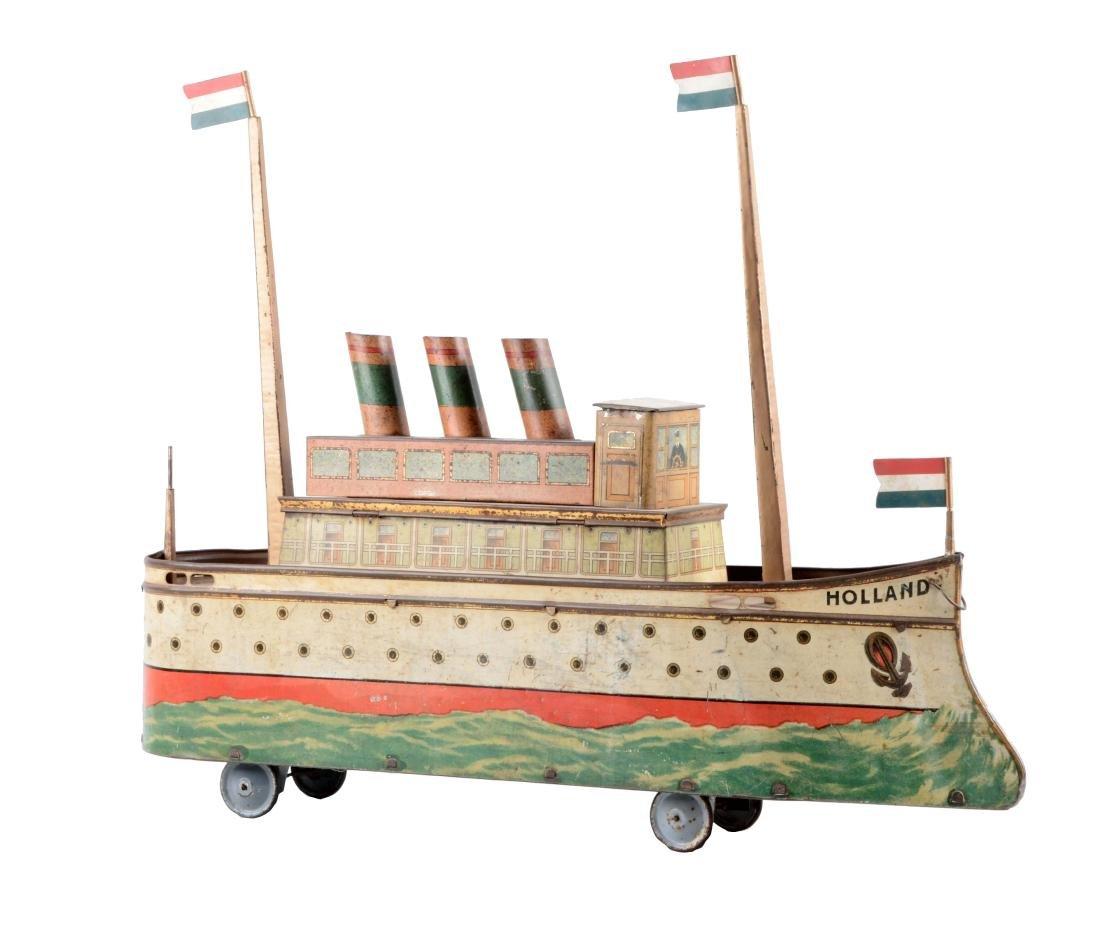 European Made Tin Litho Holland Ship Biscuit Tin.