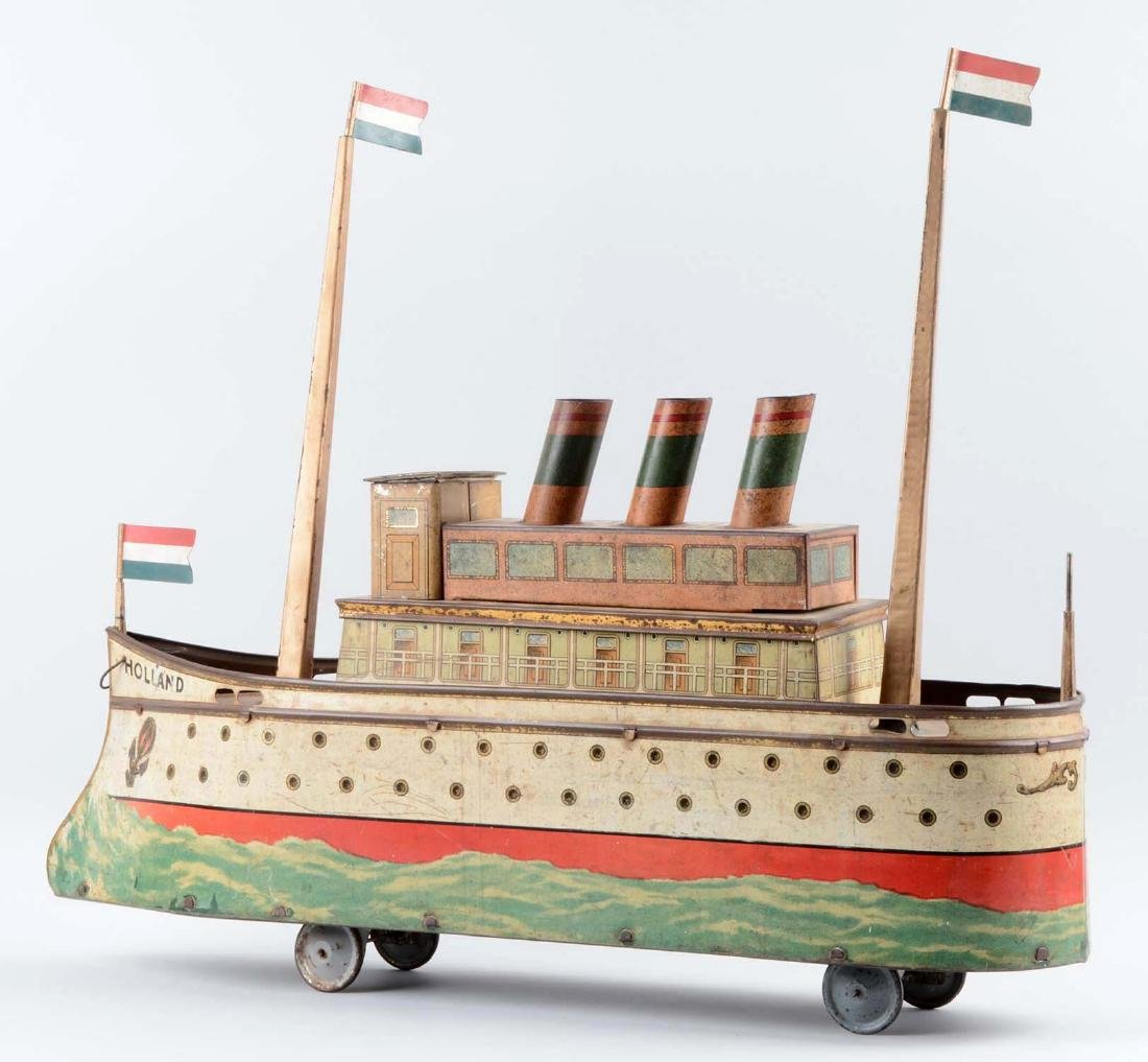 European Made Tin Litho Holland Ship Biscuit Tin. - 2
