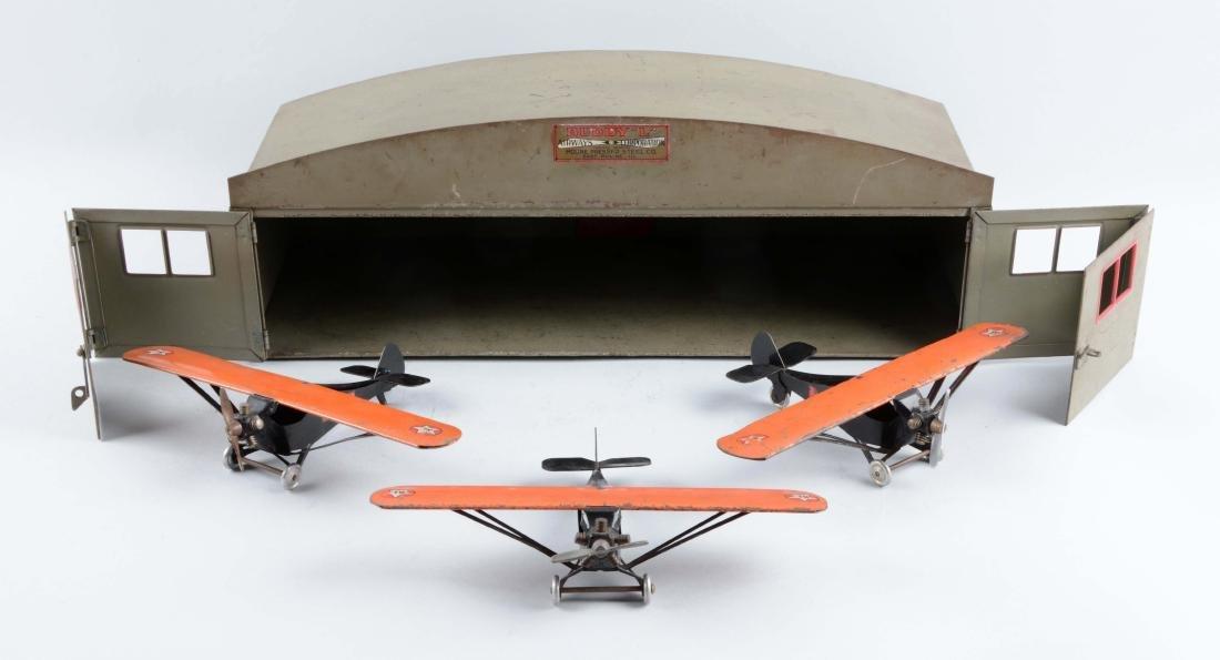 Press Steel Buddy L Hangar & 3 Monocoupe Planes.