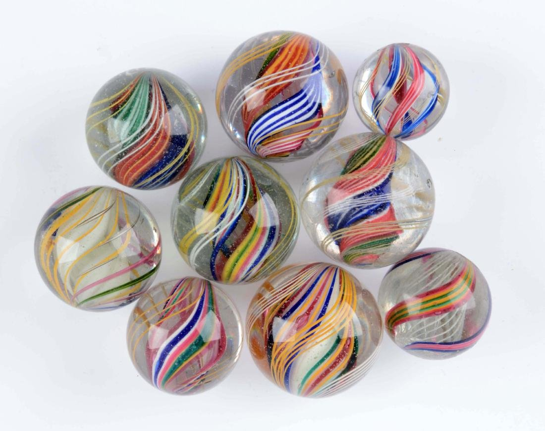 Lot Of 9: Large Swirl Marbles.