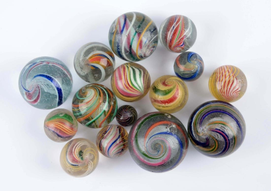Lot Of 15: Assorted Swirl Marbles.