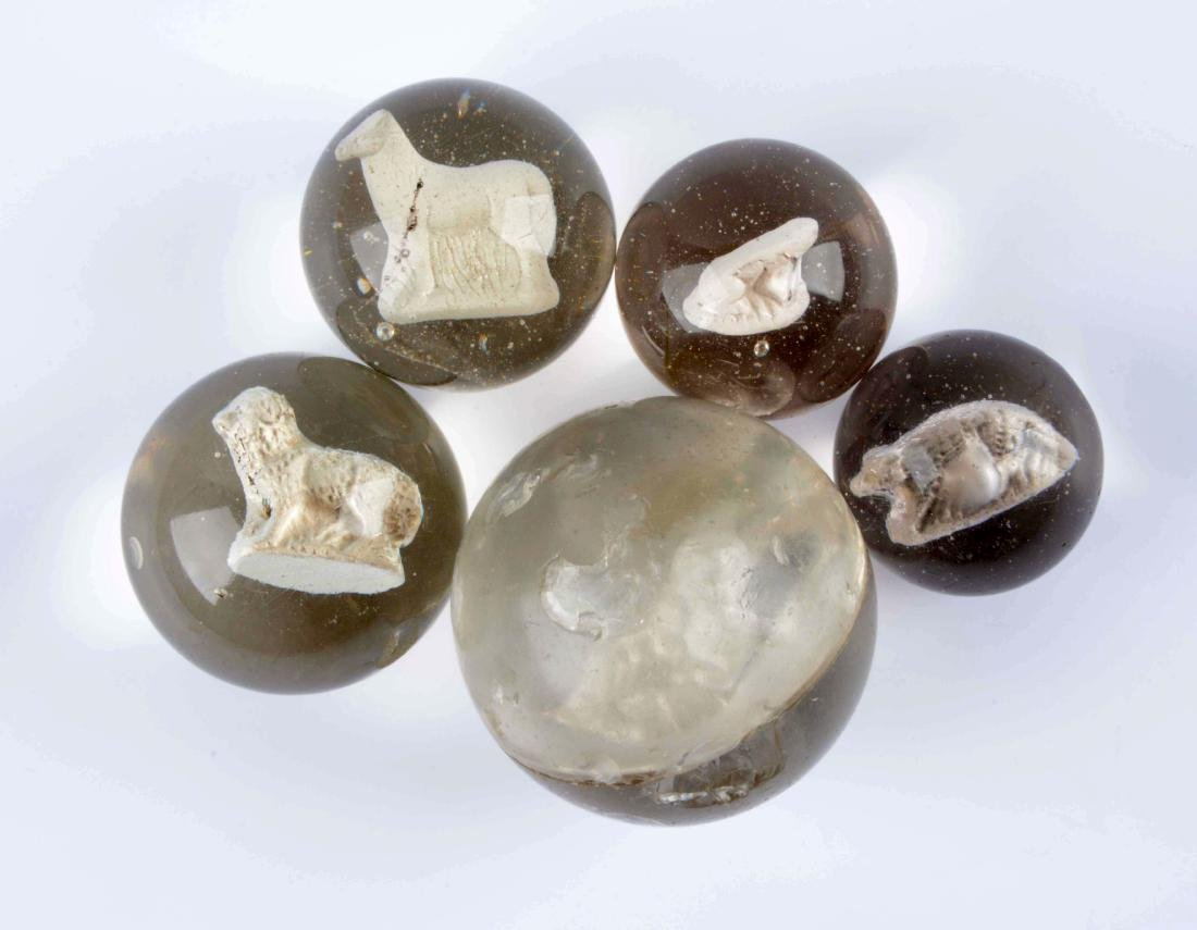 Lot Of 5: Sulphide Marbles.