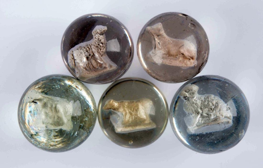 Lot Of 5: Sulfide Marbles.