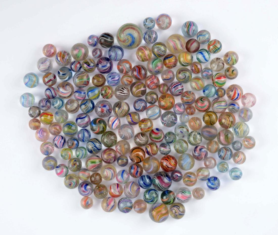 Lot of Approximately 163 Handmade Swirl Marbles.