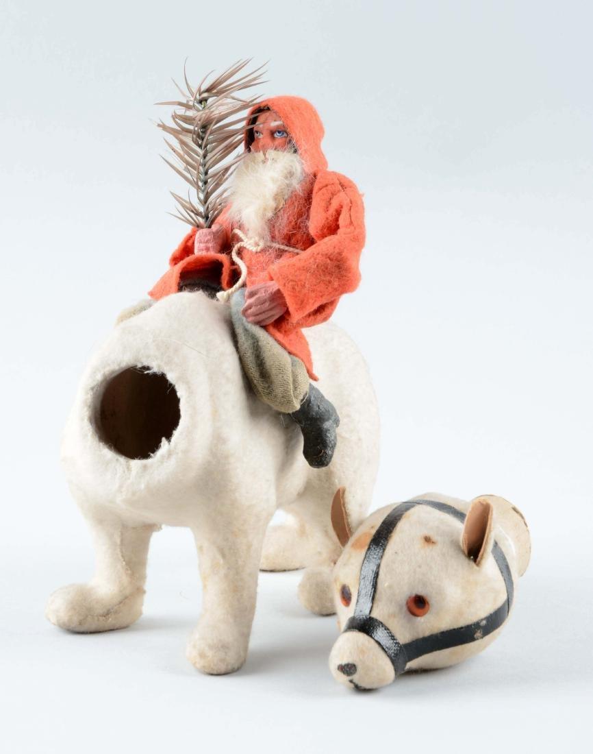 Earlier German Santa Claus Riding Polar Bear. - 3