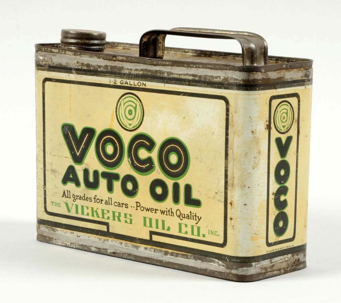 Voco Auto Oil Half Gallon Flat Metal Can. - 2