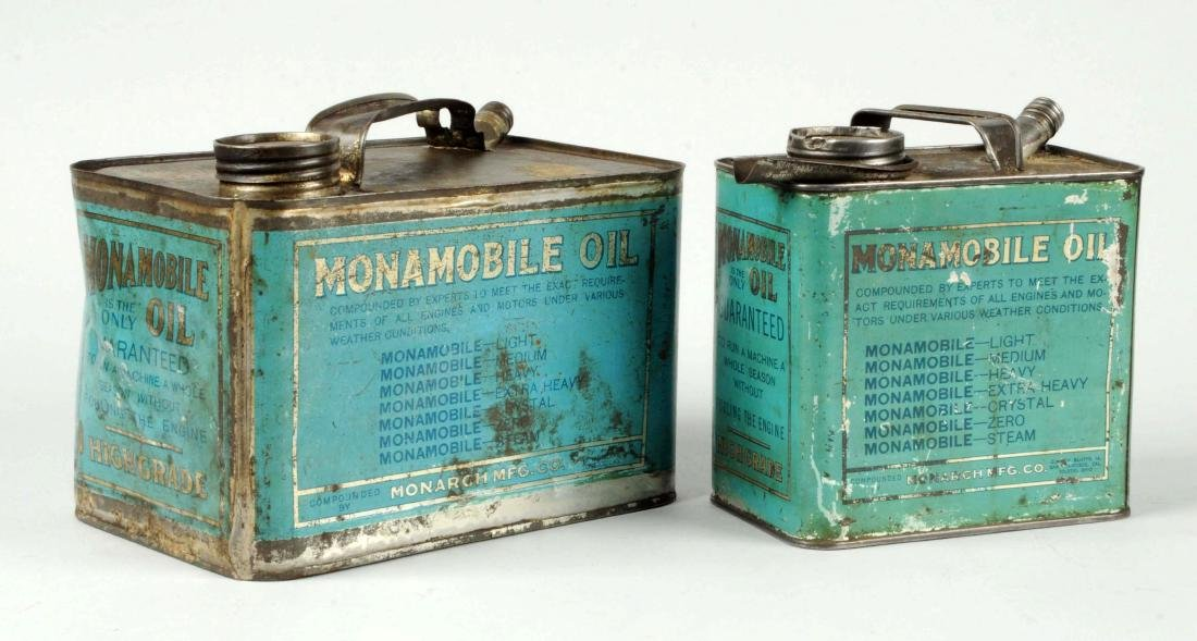 Lot of 2:  Monamobile Oil Metal Cans. - 2