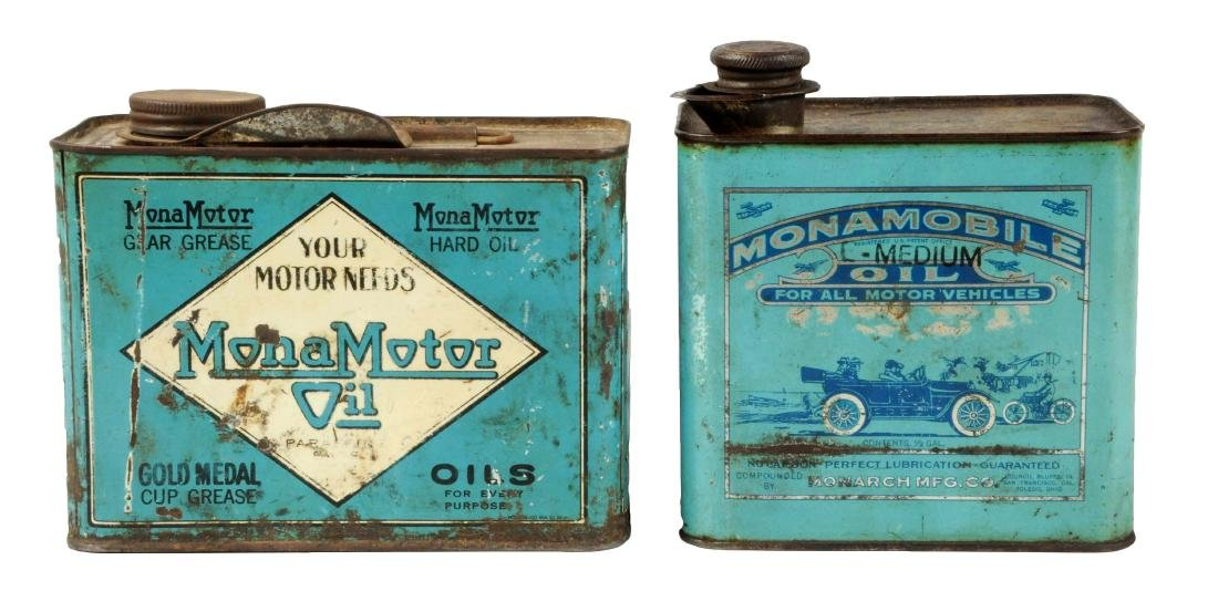 Lot of 2: Monamobile Oil Metal Cans.
