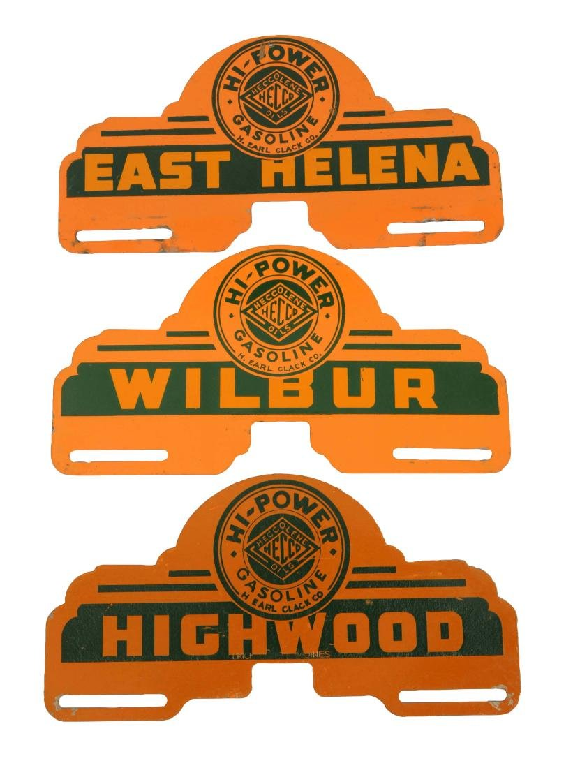 "Lot of 3:  Heccolene ""Hi-Power"" License Diecut Plate"