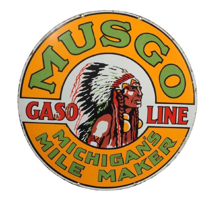 Musgo Gasoline Michigan's Mile Maker Porcelain Sign.