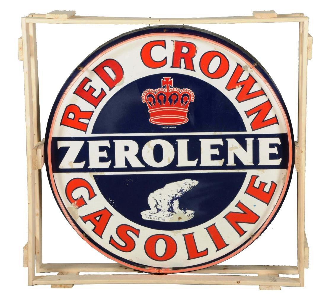 Rare Red Crown Zerolene Gasoline w/ Bear Porcelain