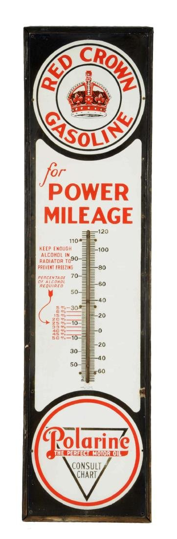 "Red Crown Gasoline ""for Power Mileage"" Porcelain"