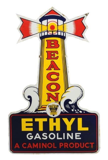 Beacon Ethyl Gasoline Lighthouse Porcelain Sign.