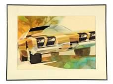 1969 Oldsmobile Automobile Original Detroit Styling Art
