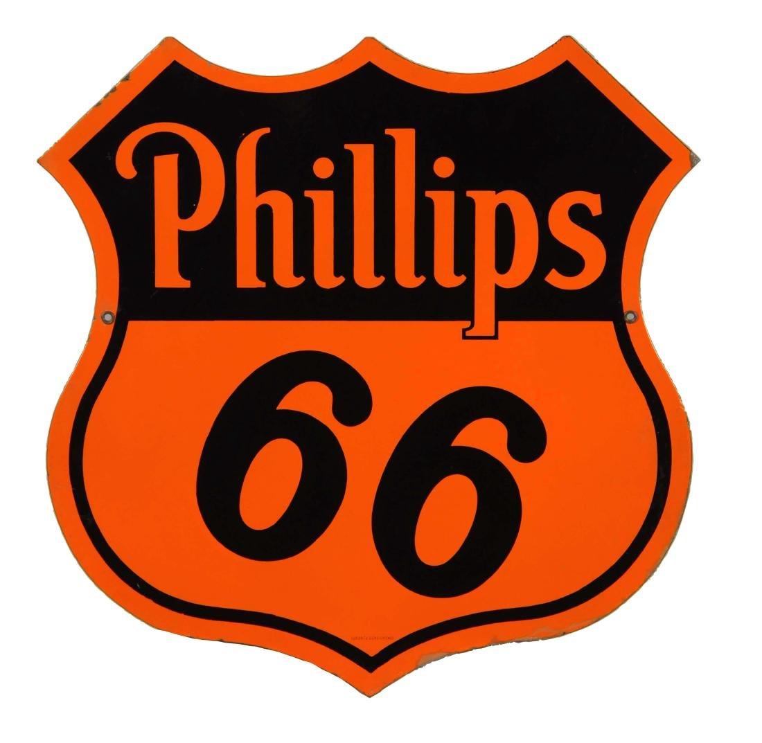 Phillips 66 (orange & black) Shield Shaped Porcelain