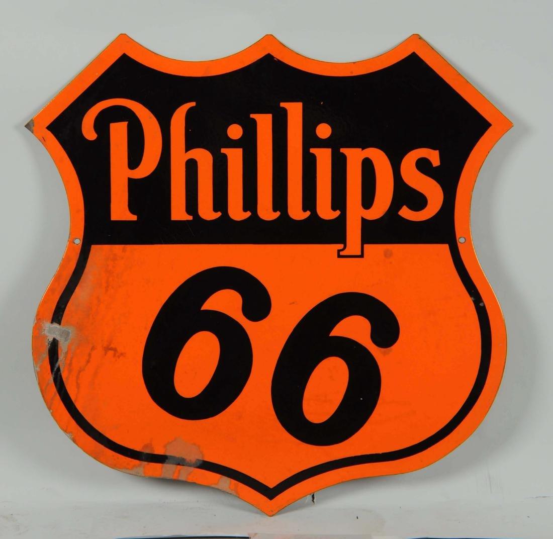 Phillips 66 (orange & black) Shield Shaped Porcelain - 2