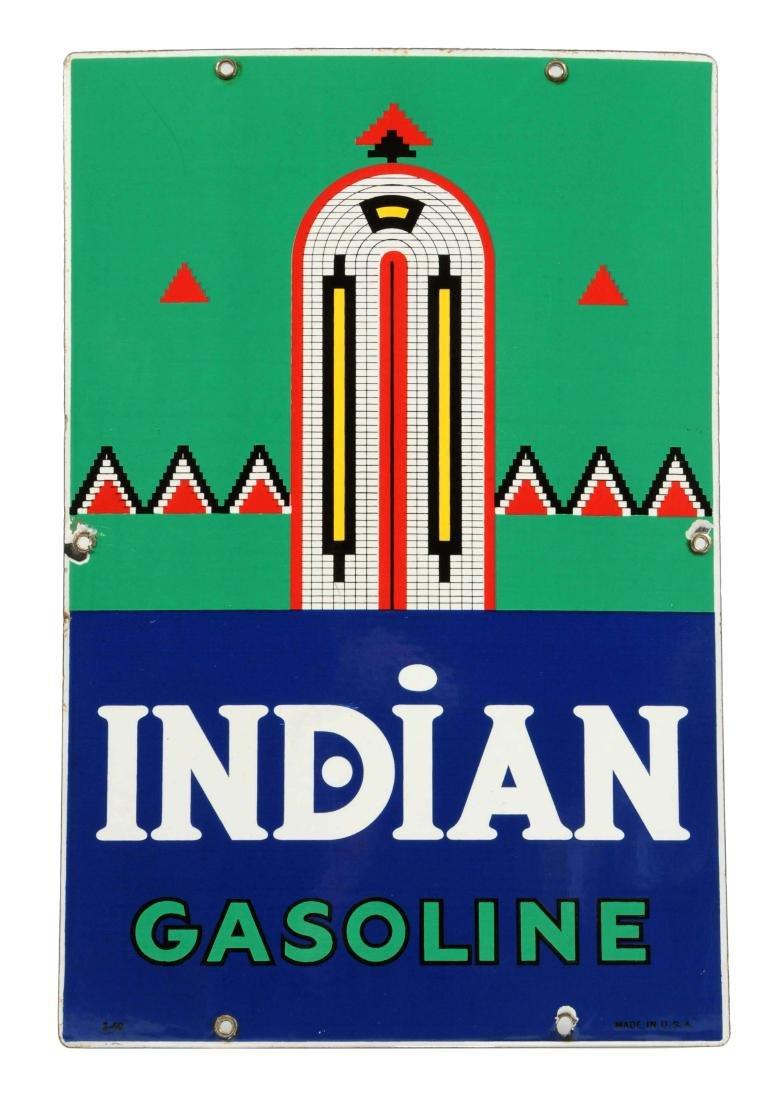 Indian Gasoline w/ Logo (large) Porcelain Sign.