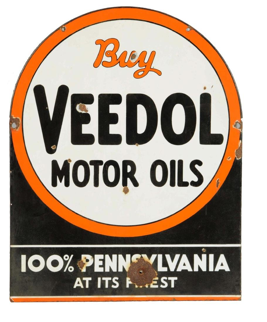 Buy Veedol Motor Oils Tombstone Shaped Porcelain Sign.