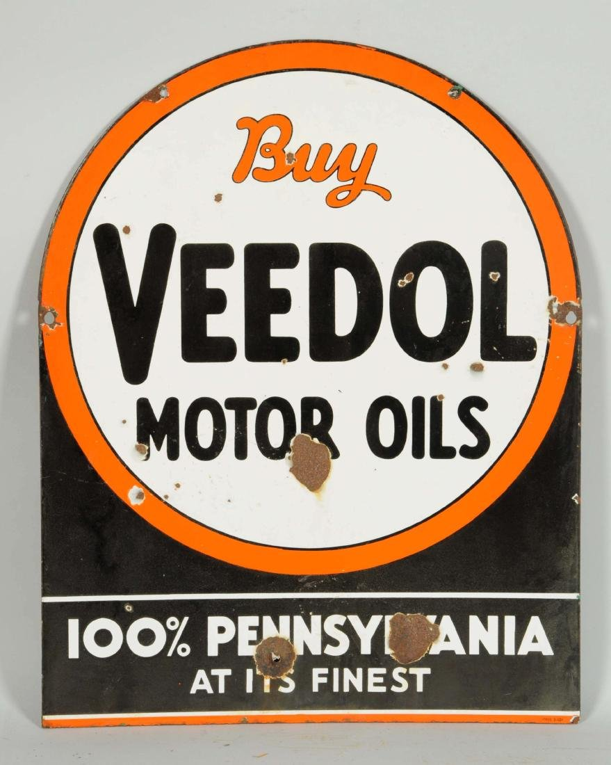 Buy Veedol Motor Oils Tombstone Shaped Porcelain Sign. - 2
