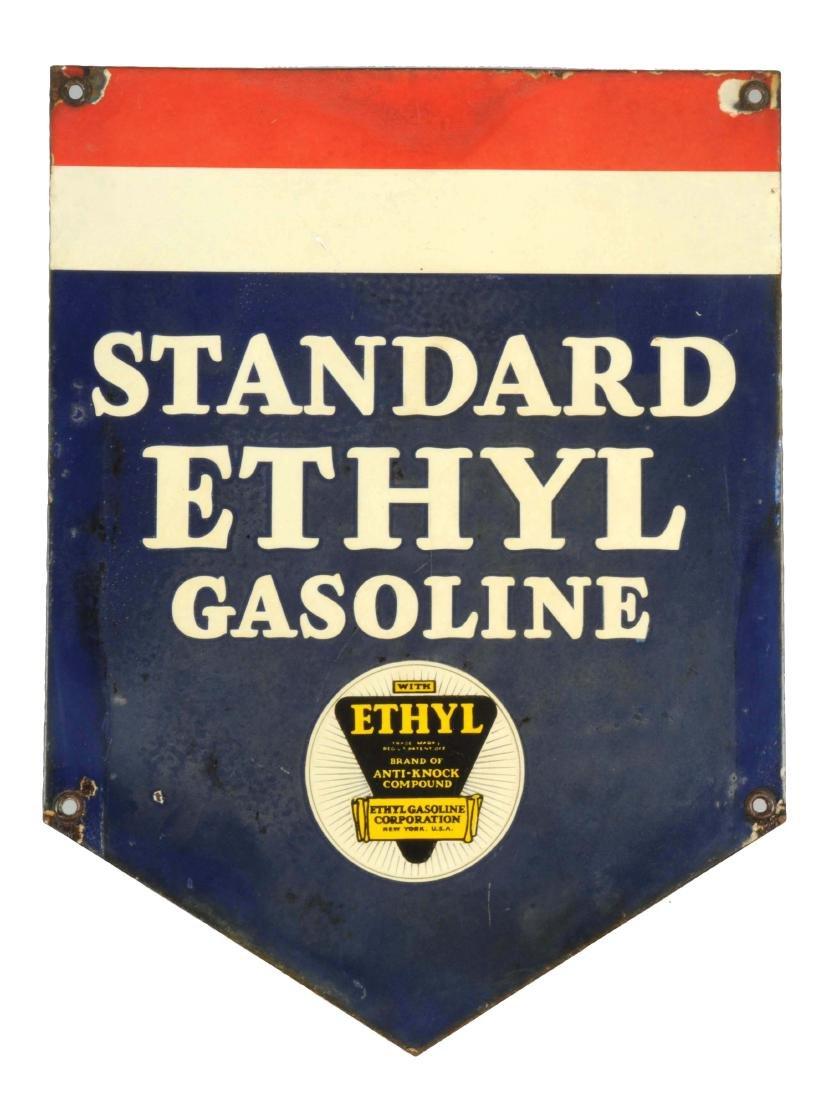 Standard Ethyl Gasoline Diecut Porcelain Sign.