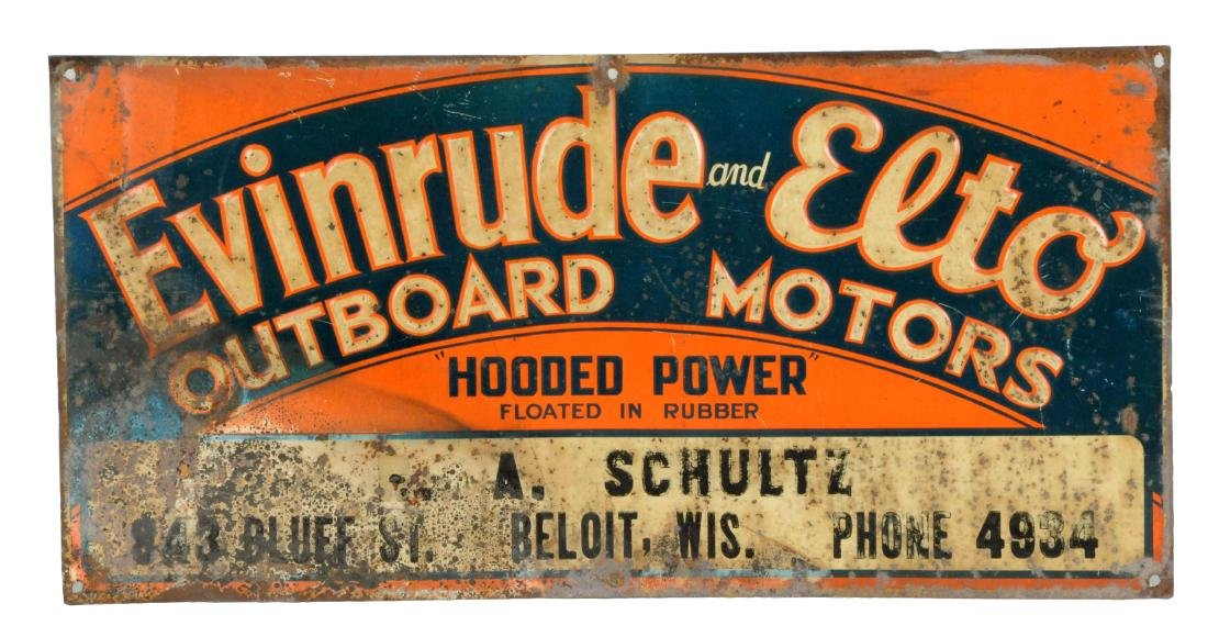 Evinrude and Elto Outboard Motors Embossed Metal Sign.