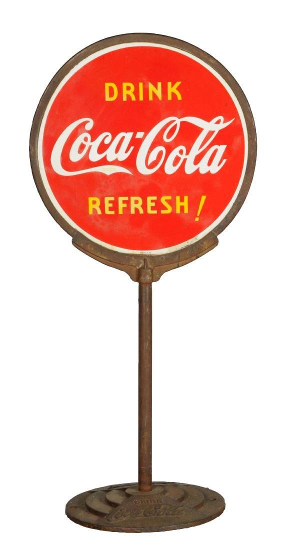 Drink Coca-Cola Porcelain Curb Sign.