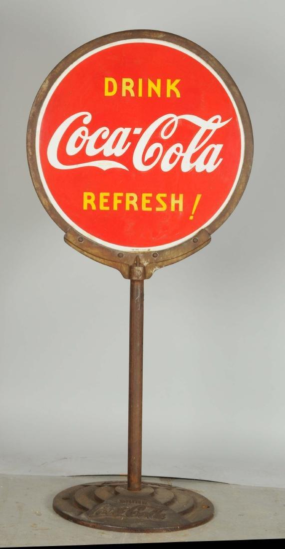 Drink Coca-Cola Porcelain Curb Sign. - 2