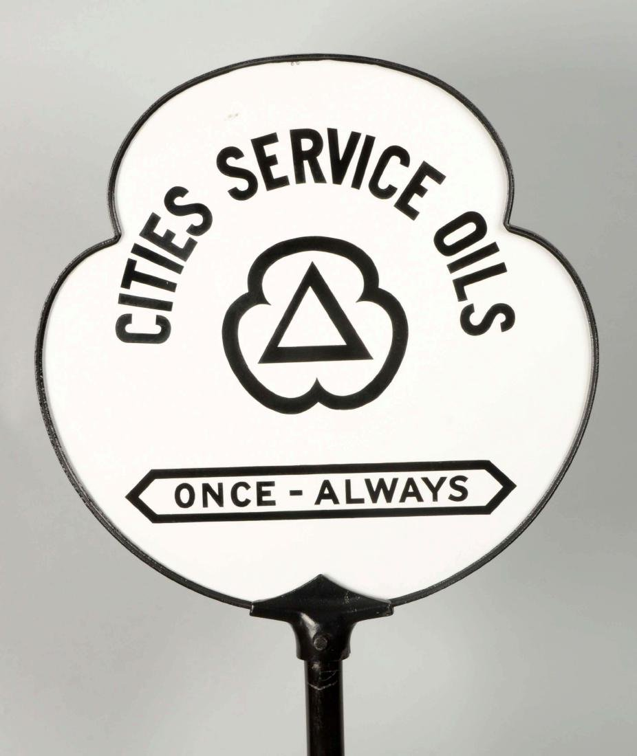 Cities Service Oils Once-Always Clover Shaped Porcelain - 3