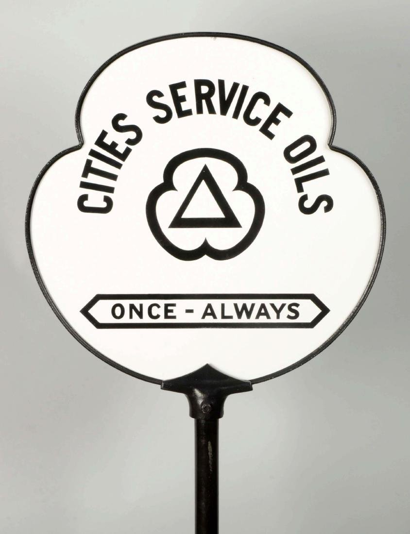 Cities Service Oils Once-Always Clover Shaped Porcelain - 4