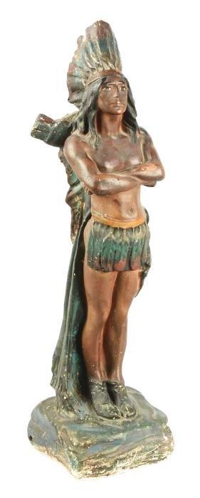 Chalk Standing Cigar Store Indian Statue.