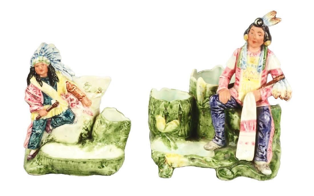 Lot Of 2: Majolica Indian Tobacco Holders.