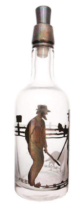 Silver Overlay Glass Back Bar Bottle.