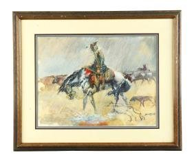 """Framed """"Cattle Rider In The Rain"""" by Mitchell."""