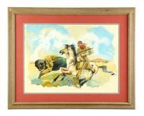 Framed Trapper Hunting Bison Painting Wild West Poster.