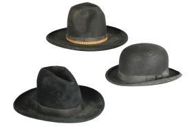 Lot Of 3: Cowboy and Bowler Hats.