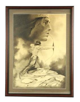 Framed Charcoal & Pencil Of Red Cloud.