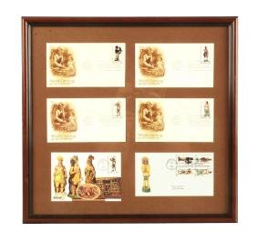 Lot Of 6: Framed Indian Wood Carving Envelopes.