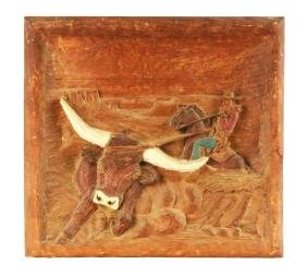 Wooden Carved Cutout Artwork Of Cowboy Catching A Bull.
