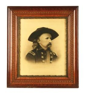 Framed 1870s George Custer Lithograph Print.