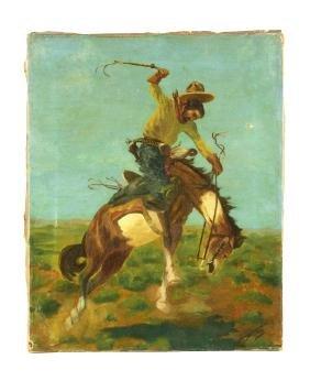 Herman Salveberg Bronco Cowboy Painting.