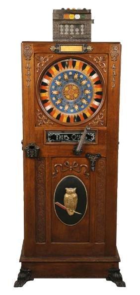 "**5¢ Mills Novelty Co. ""The Owl"" Upright Floor Wheel"