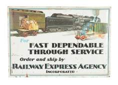 Railway Express Agency Tin over Cardboard Sign