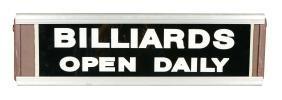 Lighted Billiards Sign.